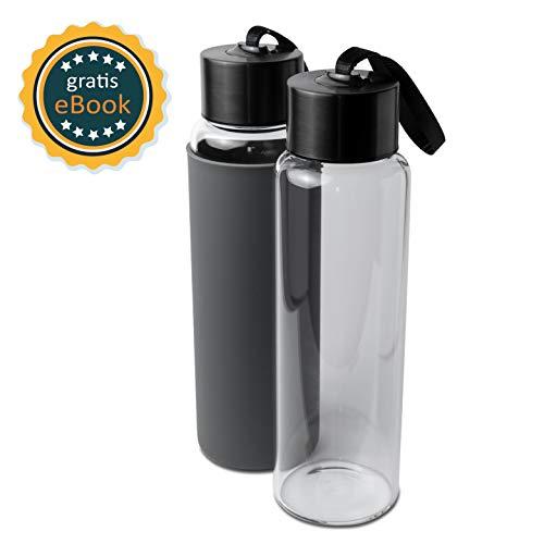 Basil | Premium Wasserflasche Glas & Trinkflasche aus hochwertigem borosilikat Glas | 1000ml | auslaufsicher, BPA frei & spülmaschinengeeignet | Sportflasche & Glasflasche mit Silikonsleeve
