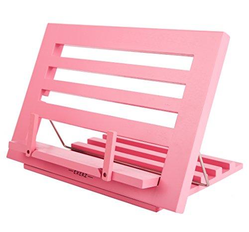 Exerz Supporti per libri da cucina Leggio in Legno da Riposo per Libri e Ricettari – Qualità Premium Regolabile Ideale per Libri iPad Tablet – 34 x 24 x 2 cm (Rosa)