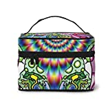 Trippy Weed Live Travel Makeup Train Case Makeup Cosmetic Case Organizer Portable Artist Storage Bag
