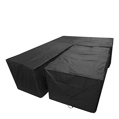 Moskado Garden Furniture Covers Waterproof Outdoor Dining Set Cover Patio Sofa Protector with Rectangular Desk Cover (R type 286 * 222cm+square 155 * 95 * 68cm, Black)