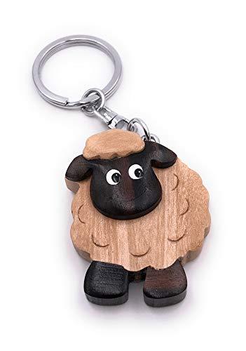 Onwomania Schlüsselanhänger aus Holz Schaf Mufflon dunkel Tier Wollschaf Anhänger Charm