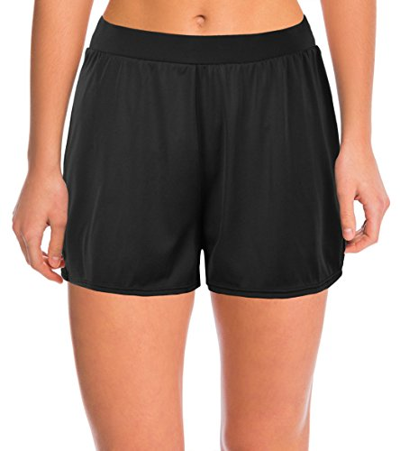 Septangle Women's Solid Color Waistband Tankini Boyleg Swimsuit Bottom Boardshorts with Briefs … (US 12, Black)