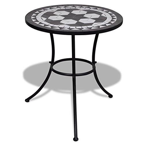 Anself Mosaiktisch Gartentisch Beistelltisch Rund Schwarz und Weiß 60 cm