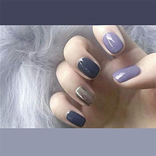 CSCH Faux ongles Smoky purple and blue and sliver hit pure color false nails french short size cute fake nails Bride lady full nail tips fashion