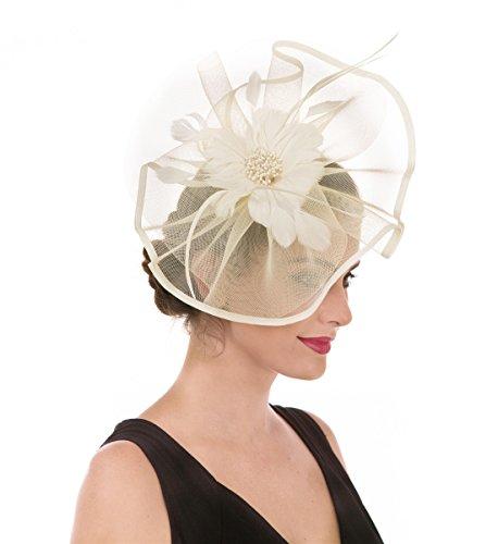 Tocado de malla con plumas y velo de rejilla, tocado para fiestas, sombreros de Ascot, sombreros de flores para las carreras de caballos, con pinza y diadema, para mujer Beige A1-grande Beige Mash 85