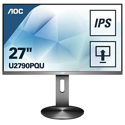 AOC U2790PQU 68 cm (27 Zoll) Monitor (HDMI, Displayport, USB Hub, 3840x2160, 60 Hz, 5 ms Reaktionszeit) Grau
