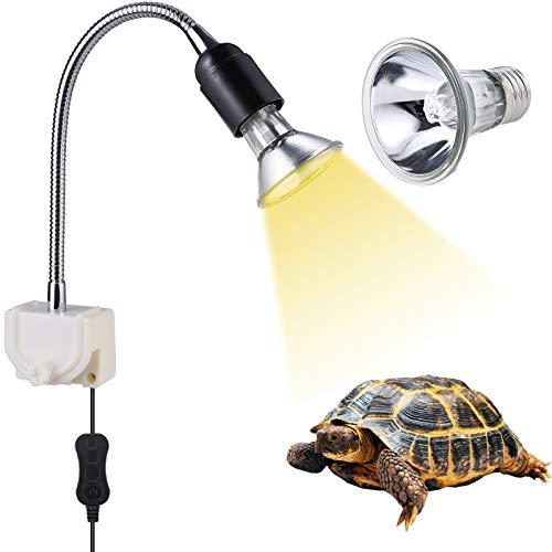 Schildkröte Wärmelampe E27Wärmespotlampe 25W für Aquarium Reptil mit Halter UVB UVA mit 360°drehbarem Clip für Reptilien Eidechsen Schildkrötenschlangen 25W Heizungslampe für Haustierlebensräume
