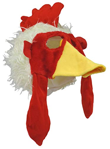 Jacobson Hat Company Chicken Rooster Plush Mask Hat, Red, Size Large