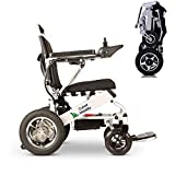 Culver Mobility Electric Power Wheelchair Scooter Fold Lightweight Folding Safe Electric Wheelchair Motorized Aviation Travel (Free Wheelchair RAMP Gift) (Silver-17.5 inc)
