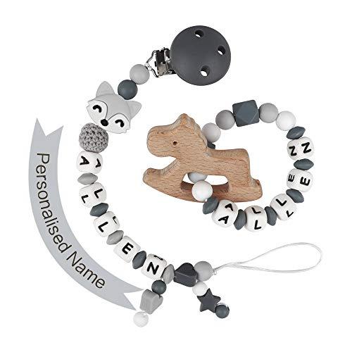 MCGMITT Schnullerkette mit Namen Junge Schnuller Clip Personalisierte Silikon Perlen Beißring Zahnen BPA Frei für Babys Fuchs(Grau mit Beißring)