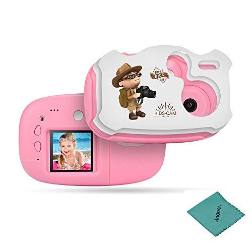 AMKOV Mini Kinder Digital Kamera Videokamera HD WiFi Eingebauter Akku mit Cartoon Aufkleber Weihnachten Neujahr Geburtstag Festival Geschenk für Kinder Jungen Mädchen