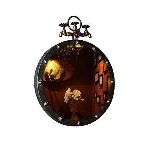 Decoración del hogar Espejos Espejo Redondo De Hierro, Diseño Creativo Estilo Industrial Espejo De Baño Restaurante Restaurante Clásico Mirado De Pared Espejo Decorativo 50 * 65 Cm Espej(Size:50*65CM)