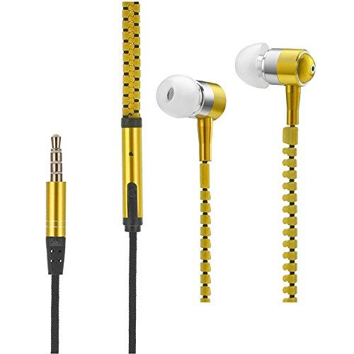 VAPIAO - Auriculares in-ear con cierre de cremallera y diseño de clavija de 3,5 mm compatibles con todos los smartphones, tablets y reproductores de MP3, color dorado