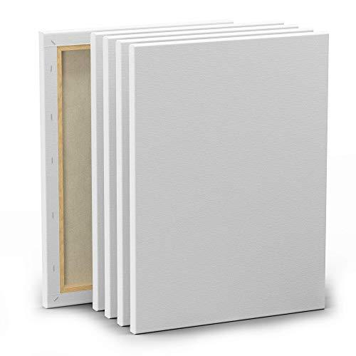 Set de 5 Lienzos para Pintar de 30x40cm - Canvas Lienzo - Para Todo Tipo de Pintura: Acrílico, Oleo, Acuarela - Lienzos 100% Algodón sin Ácidos con Bastidor de Madera para Telas Blancas