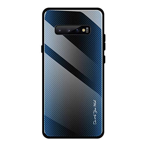 Shazikaihui Samsung Galaxy S10 Hülle, Gehärtetes Glas Zurück mit Weichem TPU Silikon Rahmen Handyhülle Gradient Case Schutzhülle Kompatibel für Samsung Galaxy S10 (Blau)