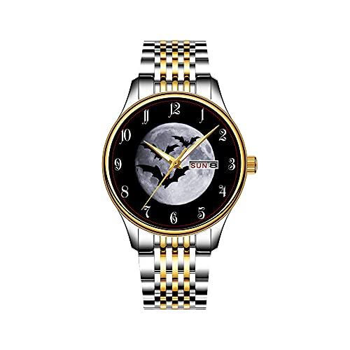 Reloj de pulsera para hombre, mecanismo de cuarzo, fecha, acero inoxidable, pulsera dorada, reloj de Batman Classic con logo
