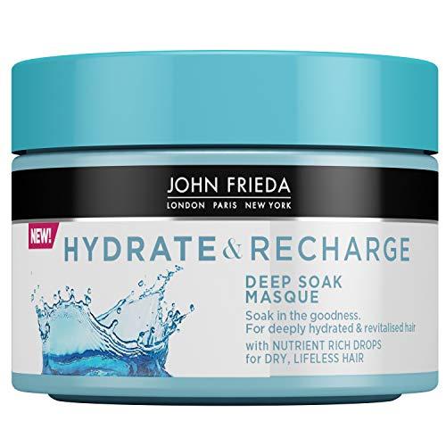 John Frieda Hydrate & Recharge Deep Soak Masque Après-shampooing à l'huile de Monoï et à la kératine pour cheveux secs et sans vie, 250 ml