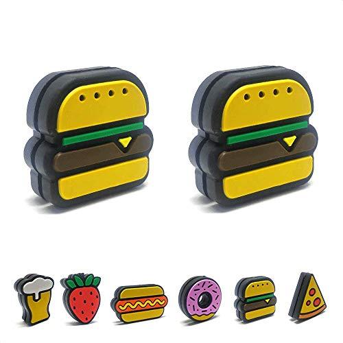 Tennis Feel Healthy Pack • Fast Food antivibrazione • Ammortizzatore per Racchetta da Tennis • Hamburgers - Donuts • Confezione da 2 (Hamburgers)
