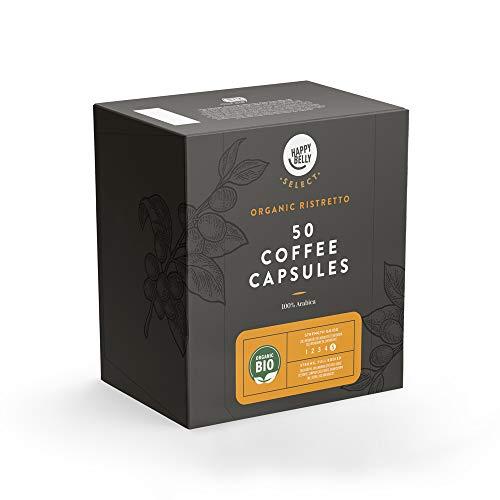 Amazon-Marke: Happy Belly Select Geeignet für Nespresso* Maschinen, 100 (2x50) Kaffeekapseln - Bio Ristretto