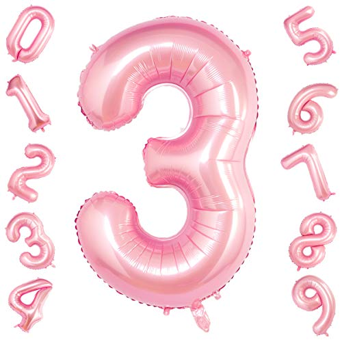 40 Inch Giant Tiffany Pink Number 3 Balloon,Foil Helium Digital Balloons for Birthday Anniversary Party Festival Decorations