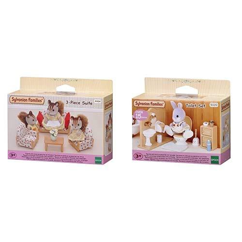 Sylvanian Families - 4464 - Set de sofá y sillones + Toilet Set Mini muñecas y Accesorios, Multicolor (Epoch para Imaginar 3563) , Color/Modelo Surtido
