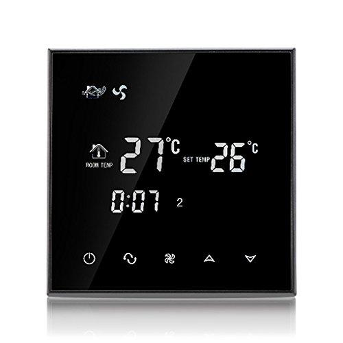 Beok TGT70-AC2 Temporizzatore del Timer Fan Coil Termostato Smart Central Aria Condizionata Temperatura Ambiente Regolatore, 2 Tubi 85-260VAC 50/60HZ 3A, Negro