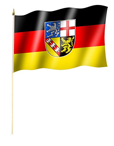 Sportfanshop24 Stockflagge/Stockfahne Saarland Flagge/Fahne ca. 30 x 45 cm mit ca. 60cm Stab/Stock