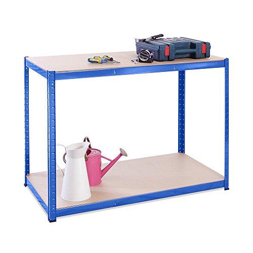 Garage Workbench & Shelving: 90cm high x 120cm wide x 60cm deep | Heavy Duty Racking Shelves for Storage, Blue 2 Tier (300KG Per Shelf), 600KG Capacity | For Workshop, Shed, Office | 5 Year Warranty