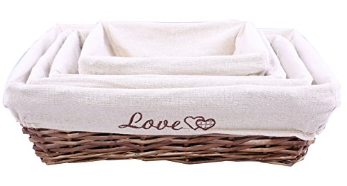 BASIC HOUSE White linings Steam Wicker Bread Basket Gift Hampers Collection Storage Display (2 pcs, Large)