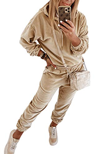 Women Velvet 2 Pc Tracksuit Hooded Pullover Joggers Pants Loungewear Sets Casual Sweat Suits Outfit Khaki S