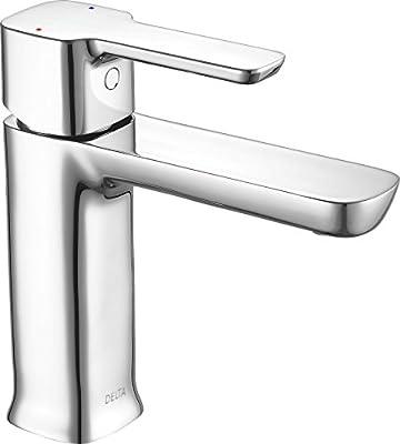 Delta Faucet Modern Single Hole Bathroom Faucet, Single Handle Bathroom Faucet Chrome, Bathroom Sink Faucet, Drain Assembly, Chrome 581LF-HGM-PP