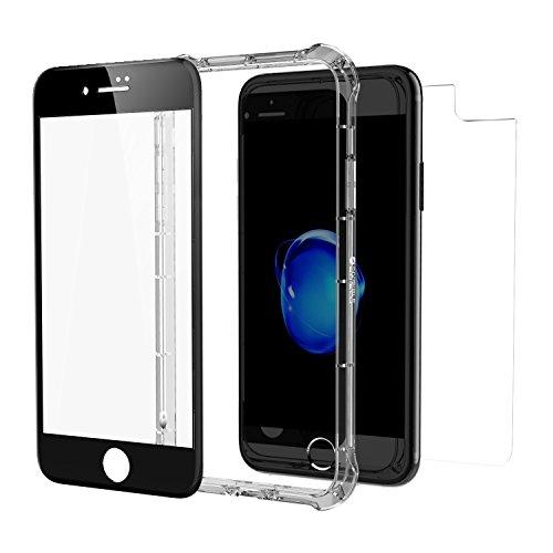 InvisibleShield Glass+ Contour 360 - Protector de Pantalla para Apple iPhone 8 Plus/7 Plus, Color Negro Transparente
