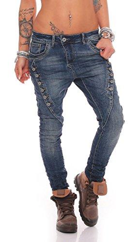 Fashion4Young MOZZAAR Damen Jeans Röhrenjeans Haremshose Hüftjeans Baggy Haremsjeans Boyfriend (M=38, 10784-Dunkelblau)