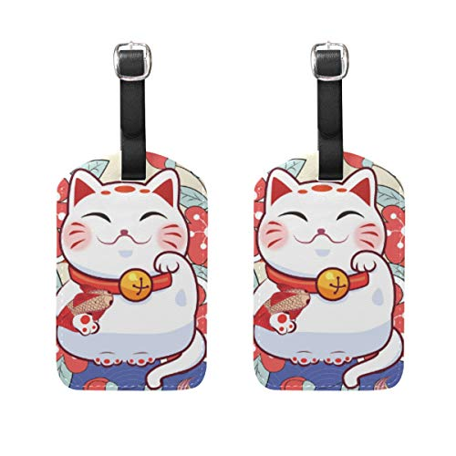 QiHouse Smile Lucky Cat Say Hi Leather Luggage Tags Japanese Style Blooming Flower Carp Good Hope Suitcase Baggage Label Travel ID Bag Tag for Suitcase 5030266