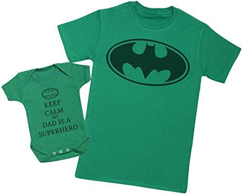 Keep Calm My Dad is A Hero - Ensemble Père Bébé Cadeau - Hommes T-Shirt & Body bébé - Vert - Large & 12-18 Mois