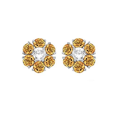 SLV Pendientes de tuerca en forma de flor de 1,6 quilates D/VVS1 con diamantes redondos chapados en oro blanco de 14 quilates