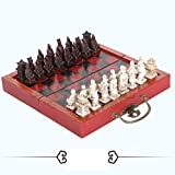 Liapianyun Juegos Tradicionales de ajedrez de Madera Creativo, Haga Viejo Talla ajedrez Chino de Terracota Guerreros Retro ajedrez en Forma de Pieza de ajedrez de Resina,1