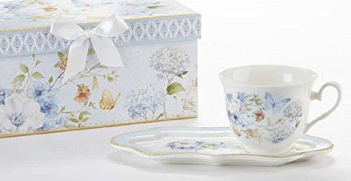 Delton Tee- und Toast-Set aus Porzellan, Schmetterlingsmotiv