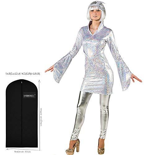 WOOOOZY Damen-Kostüm Mond-Kleid irisierend (ohne Leggins), Gr. 38-40 - inklusive praktischem Kleidersack