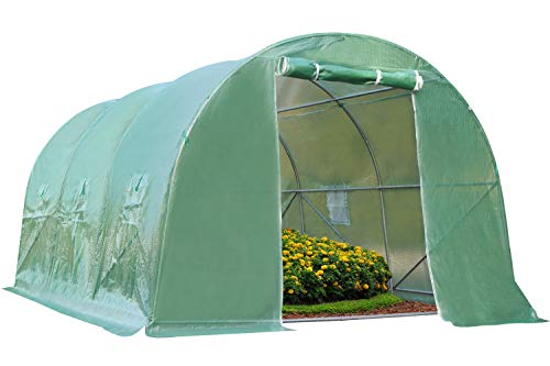 15'x7'x7' Greenhouse Steel Greenhouse Indoor and Outdoor Greenhouse,with 6 Roll-Up Window Grow for Outdoors Greenhouse Walk-in Green House Kit Plants Seedlings Herbs or Flowers