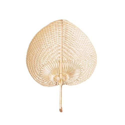 """G-wukeer 12""""natürliche Bast-Fans, Herzförmiger Bambus Gesponnener Fan Vollständiges Blatt, Vervollkommnen Für Sommer Kommen, Vorzügliches Handwerk 1pc"""