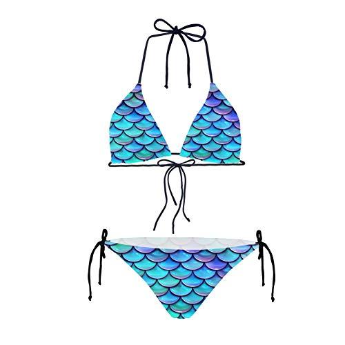 HUGS IDEA - Bikini sexy, 2 piezas, diseño de calavera Báscula de pescado 2 XS