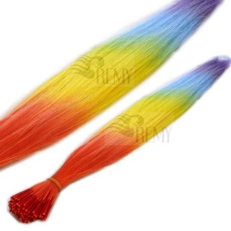 RemyHaar.eu - Bunte Strähnen Bicolor Farbige Strähnchen I-Tip 0,4g Farbeffekte Kunsthaar Haarverlängerung - Regenbogen, 50 Strähnen