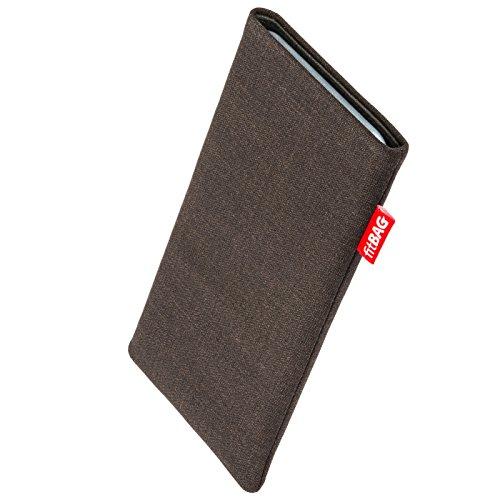 fitBAG Jive Braun Handytasche Tasche aus Textil-Stoff mit Microfaserinnenfutter für Haier Ginger G7 | Hülle mit Reinigungsfunktion | Made in Germany