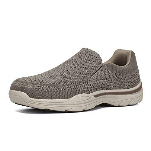 PAMRAY Zapatillas sin Cordones Mocasines para Hombre Sneaker Casuales Zapatillas de Deporte Marrón 44
