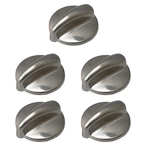 Yibuy 5 PCS Stainless Steel Cooktop Control Knobs WB03K10303 EA3486484 PS34864