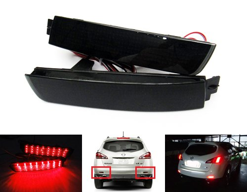 2x Black Smoked Lens Rear Bumper Reflector LED Fog Tail Stop Brake Light For 2009-16 Juke F15 Murano Z51 Sentra FX37 FX50