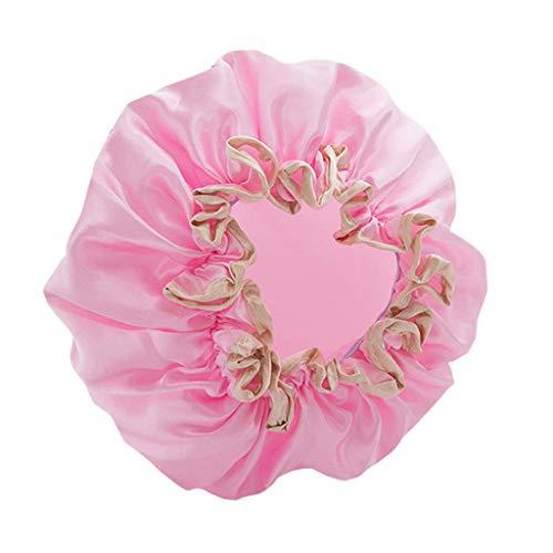 HINK Gorro de baño de satén de Ducha Impermeable Doble para Mujer, Gorro de baño de Seda Reutilizable, Productos de baño para el hogar y el jardín