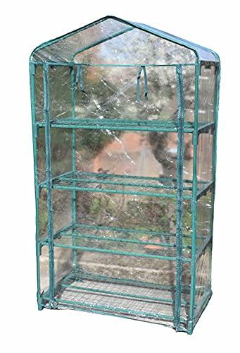Invernadero para jardin, con cubierta, 4 repisas, color verde. Ideal para cultivo de plantas, protegiendo de heladas y cambios de clima. Fácil de instalar, no requiere herramientas.