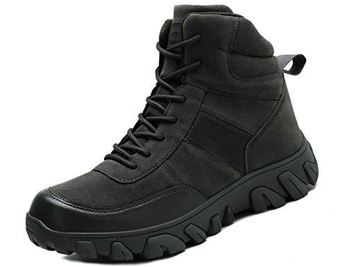 IYVW A02 Hombres Ultraligero táctico militar Botas antideslizante deportes al aire libre Acampar zapatos del combate de trabajo Senderismo Verde 41 EU